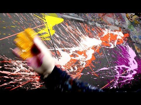 Peinture Abstraite Démonstration Avec Éclaboussures | Vibration