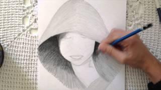 menina de touca - desenho a lapis