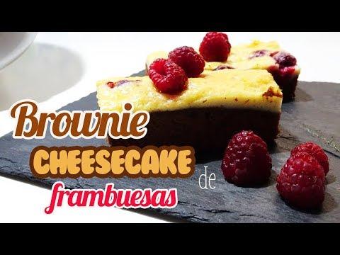 Brownie Cheesecake de Frambuesas | Brownie Tarta de Queso | Fácil y delicioso