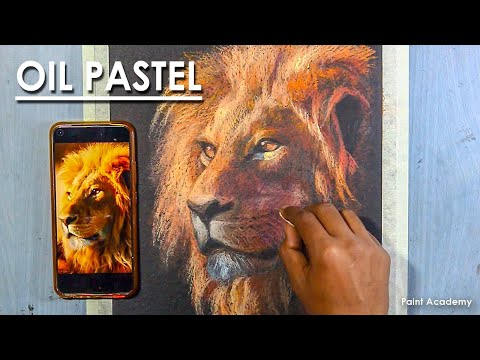 Oil Pastel Drawing : How to Draw A Realistic Lion Face | step by step drawing and coloring
