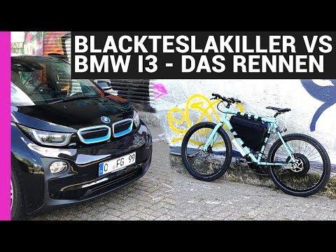 #BlackTeslaKiller vs  BMW i3 - EBIKE GEGEN AUTO RENNEN - 10KW EBIKE 110KMH
