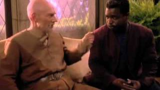 Jean-Luc Picard punches Geordi La Forge