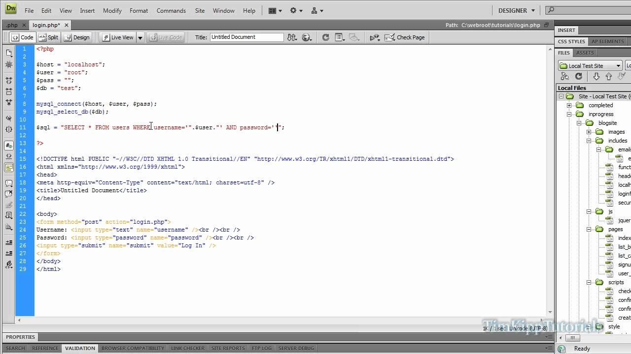 PHP Programming Tutorial - Creating A Simple MySQL Login Form