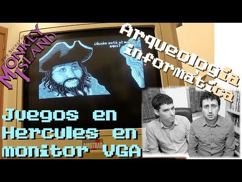 Arqueología Informática 02 - Tarjeta Hercules en monitor moderno VGA ~ Probémoslo con Monkey Island