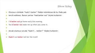 Had better | İngilizce öğreniyorum | Ekrem Uzbay