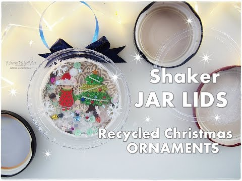 DIY Shaker Jar Lids Recycled Christmas Ornaments ♡ Maremi's Small Art ♡