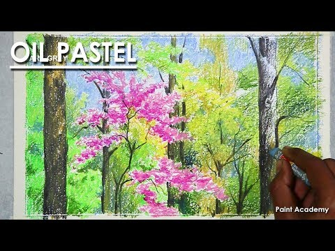 Spring Trees Composition with Oil Pastel step by step