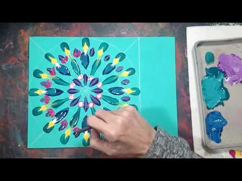 Mandala Acrylic Painting -Simple Brushstrokes & Dot Painting Demo