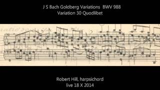 J S Bach: Goldberg Variations BWV 988. Variation 30 Quodlibet. Robert Hill, harpsichord 18.10.14