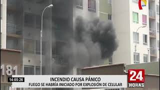 Se registra incendio en tercer piso de edificio en San Miguel (1/2)