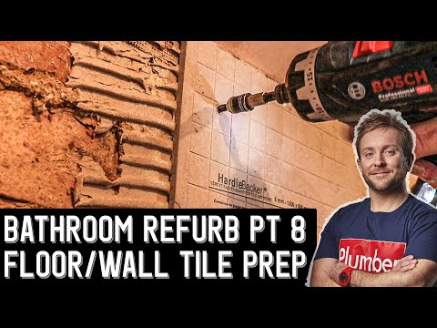How to prep brick wall & wooden floor for tiling - Bathroom Renovation PT 8