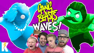 GANG BEASTS WAVES Family Battle with NEIGHBOR and GRANNY   KIDCITY GAMING