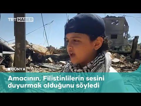Filistinli çocuk Gazze'den dünyaya rap yaparak haykırdı