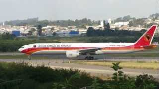 [ HD ] Taag Angola B777-3M2/ER at Guarulhos GRU/SBGR - Runway 27