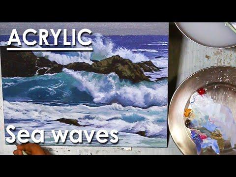 Acrylic Painting : Sea Waves