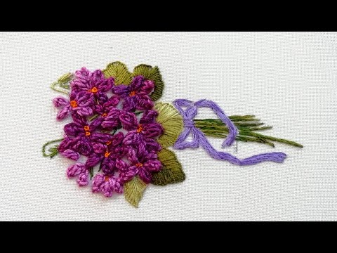 Flowers field violets | 3D embroidery bouquet| loop chain stitch