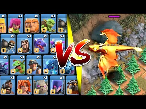 EVERY SINGLE TROOP vs NEW SINGLE PLAYER MAPS! - Clash Of Clans - THE DRAGON LAIR CHALLENGE!