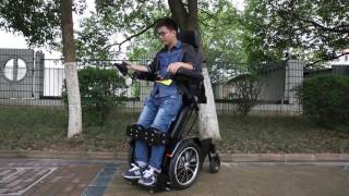 Z01 standing electric power wheelchair laying on wheelchair