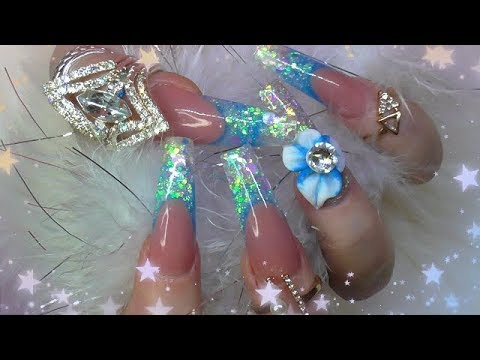 FROZEN ICE - SCULPTED BALLERINA ACRYLIC NAILS + MISTAKES! | ABSOLUTE NAILS