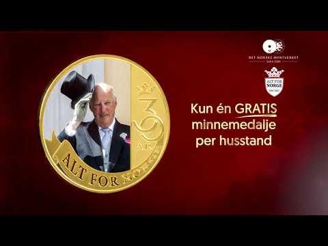 Jubileumsmedalje belagt med rettferdig gull hedrer Kong Harald V!