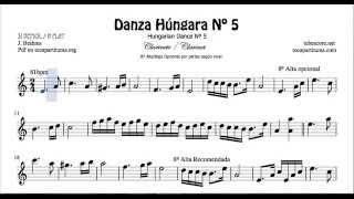 Danza Húngara Nº5 Partitura de Clarinete