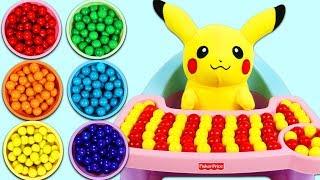 Feeding Pokemon Pikachu Rainbow Gumballs! width=