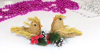 Птички из мешковины и природных материалов /Birds from natural materials