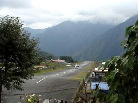 Airplane landing in Lukla