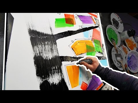 Abstract Painting demo Acrylics Speed Art | Tetrapolis