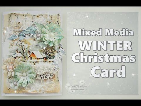 Mixed Media Christmas / Winter Card ♡ Maremi's Small Art ♡