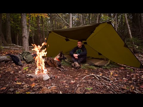 Oilskin Tarp, Wool Blanket Overnight Bushcraft Camp-Caveman Steak- Bough Bed-Long Fire PACK GIVEAWAY