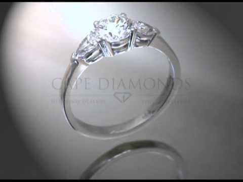 3stone,round and pear,plain side,engagement ring