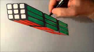 Anamorphic Illusion, Drawing Levitating 3D Rubik's Cube, Time Lapse