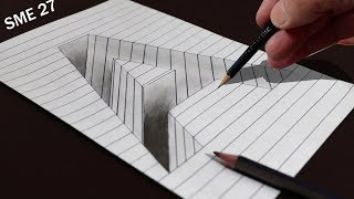 3D Trick Art Drawing A Hole in Line Paper | Drawing 3D Art