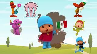 Wrong head pocoyo cartoon for kids , Pocoyo car toon 2018  full finger family song
