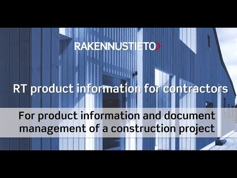 """RT contractors product information application has been co-developed with the largest contractors in Finland. Products and documents verifying their qualification and material safety are retrieved from the RT product information database. This information will be used to compile the """"product description"""" of the building."""