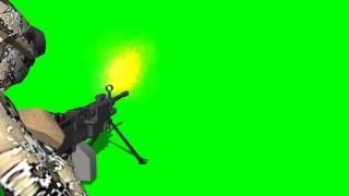 machine gun muzzle flash / soldier  - green screen effect