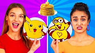 PANCAKE ART CHALLENGE! How To Make Minions Spongebob Emojis out of DIY Pancakes in 24 Hours!