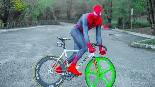 the Amazing Spider-Man - 99 skid in a downhill - Super HillBombing  - DAFNEFIXED Fixedgear