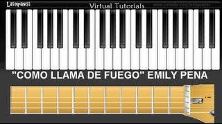 """Como Tocar """"Como Llama de Fuego""""(Mas De Ti) por Emily Pena en Piano, Guitarra y Bajo"""