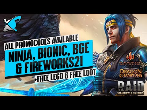 FREE LEGO + ALL PROMO CODES AVAILABLE IN MULTIPLE GAMES | RAID | Dragon Champions | Summoners Glory