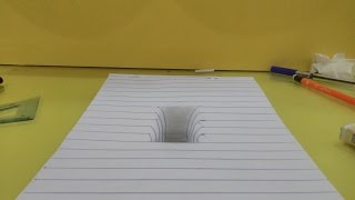 3d drawing hole in paper optical illusion