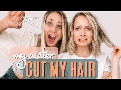 I let my sister CUT MY HAIR!!! At home haircut tutorial – Kayley Melissa