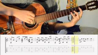 Theme from Princess Mononoke on Classical Guitar (with tabs)