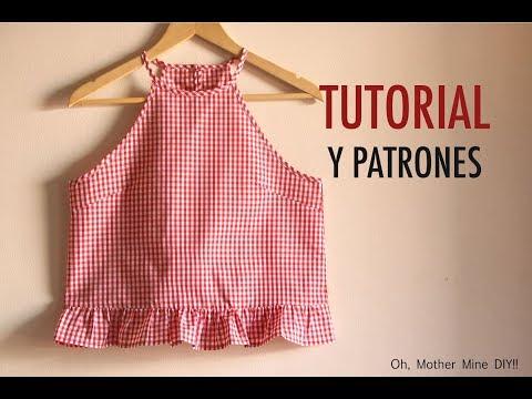 Aprender a coser: Blusa cogida al cuello mujer (patrones gratis)