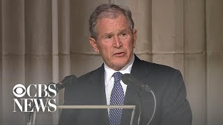Former President George W. Bush delivers final eulogy at father's funeral width=