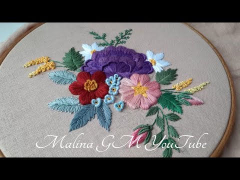 3D Flower Embroidery  Satin Stitch Flower & frech ideas for leaves  still life