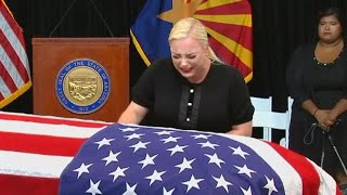Meghan McCain Cries Over John McCain's Casket During Memorial