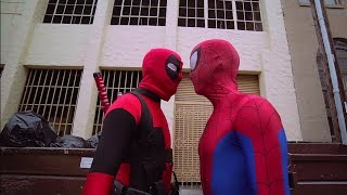 Deadpool vs Spiderman FIGHT - Real Life Parkour for kids | Screen Team