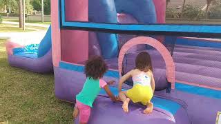 Setting up the Pink Purple Jump n Slide Bounce House, Kids Playing on the Bounce Water Slide